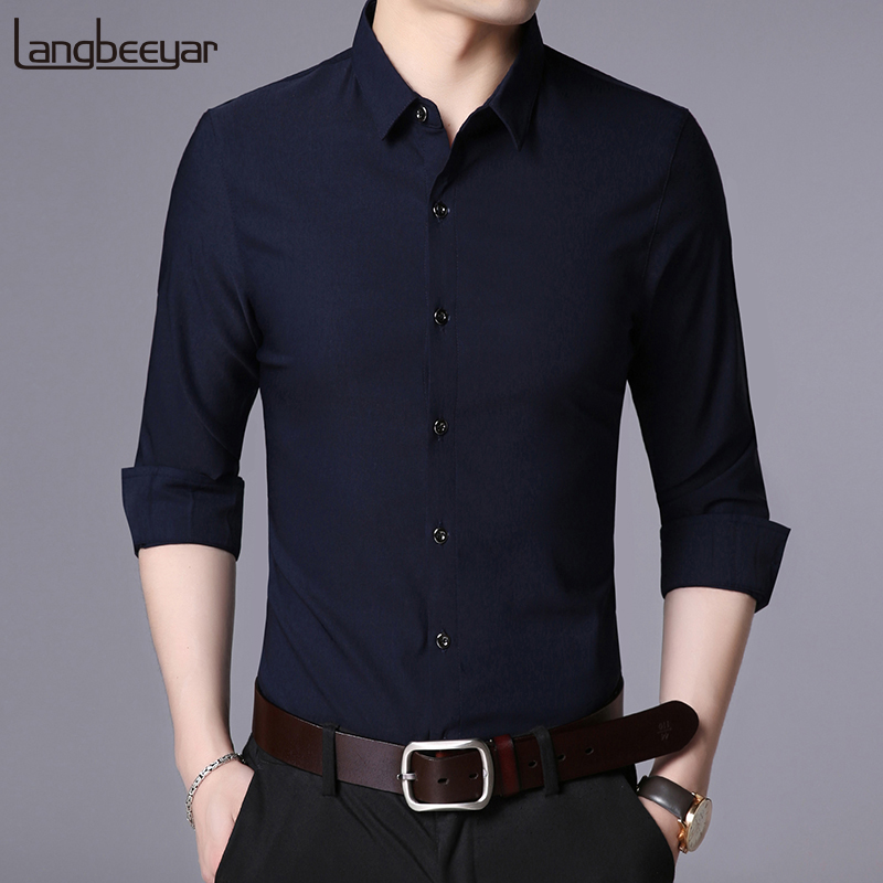 2019 New Fashion Brand Designer Shirt Men Dress Shirts Slim Fit Streetwear Long Sleeve Korean High Quality Casual Men Clothes