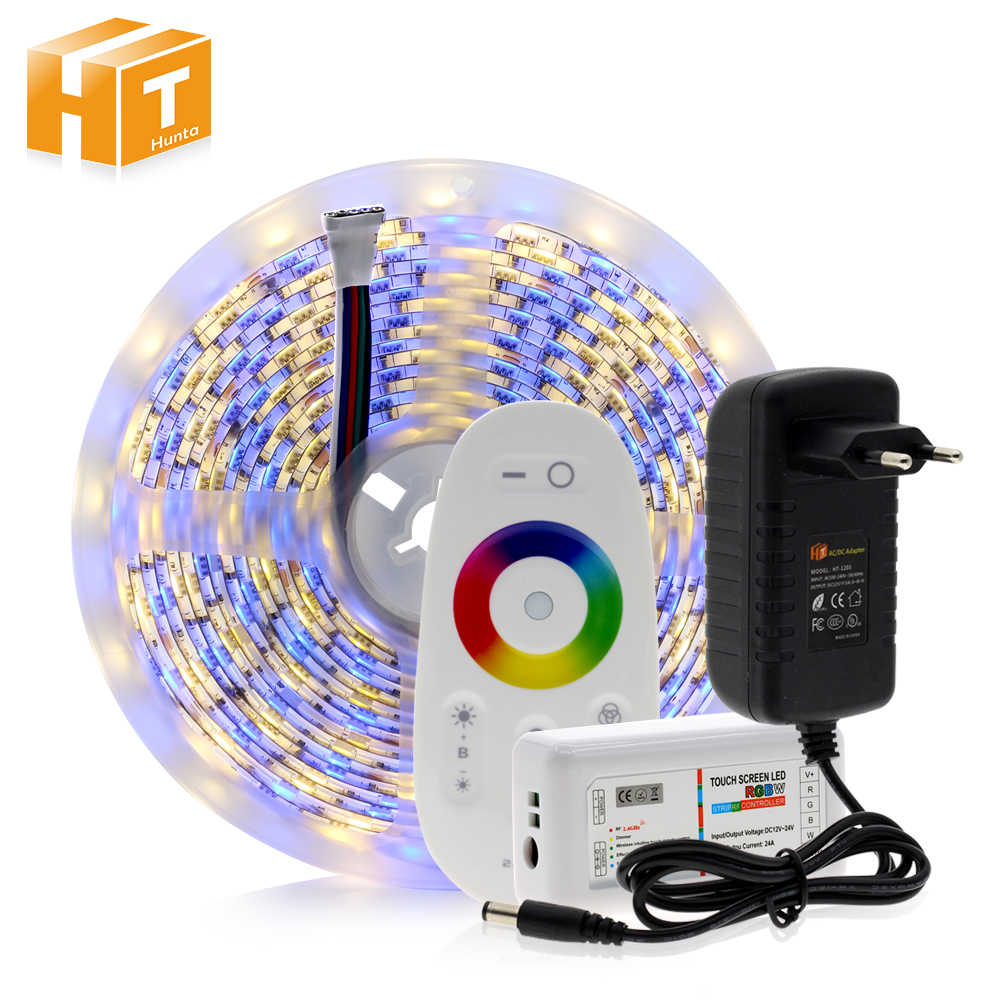 5050 LED Strip RGB/RGBW/Rgbww 5M 300LED RGB Warna Berubah Fleksibel Lampu LED + Remote controller + 12V 3A Adaptor Daya