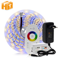 5050 led tira rgb/rgbw/rgbww 5 m 300 leds rgb cor variável flexível led luz + controle remoto + 12 v 3a adaptador de energia