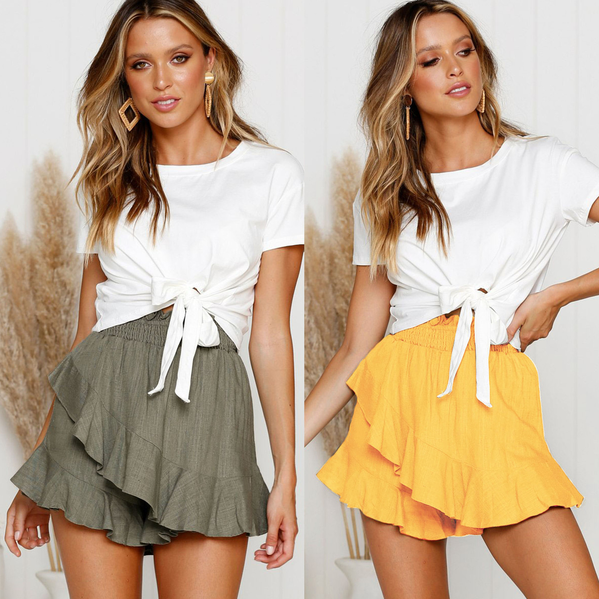 2019 Fashion Wide Leg Short Pants Women Summer Green Yellow Ruffled  Elastic Waist Women Shorts Sexy Shorts