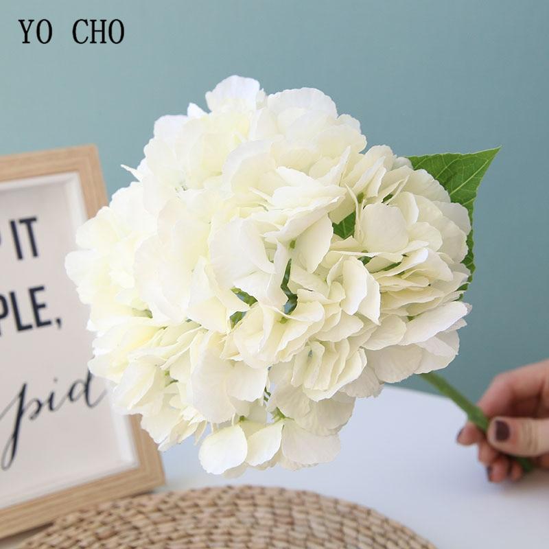 YO CHO Hydrangea Flower Single Branch Artificial Silk Hydrangea Bridal Wedding Bouquet Home Party Decor Wedding Planner Flowers