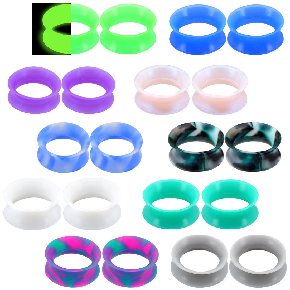 Body Punk 20PCS Soft Silicone Ear Gauges Flesh Tunnels Plugs Stretchers Expander Double Flared Flesh Tunnel Ear Piercing Jewelry