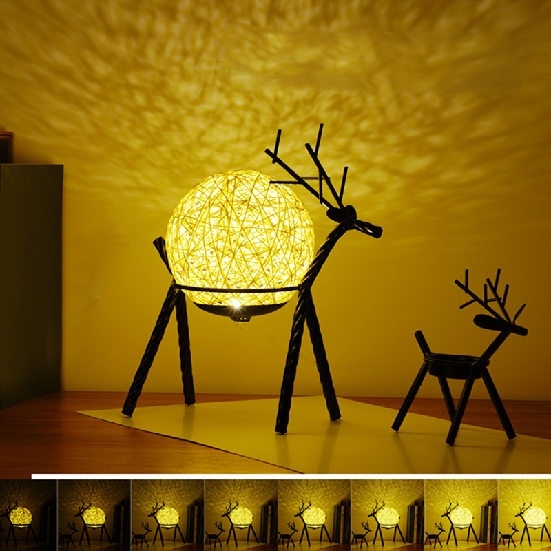 criativo projecao estrelada elk unicornio sono luz da noite lua lampada de mesa cabeceira iluminacao da