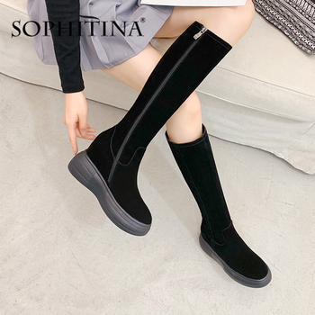 SOPHITINA Increase Within Boots Women High Quality Cow Suede Comfortable Increase Within Elegant Shoes Handmade New Boots PO373