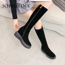 SOPHITINA artış içinde çizmeler kadın el yapımı hakiki deri inek süet rahat zarif 2020 kış ayakkabı botları PO373