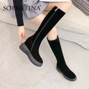 Image 1 - Sophitina Verhogen Binnen Laarzen Vrouwen Handgemaakte Lederen Koe Suede Comfortabele Elegante 2020 Winter Schoenen Nieuwe Laarzen PO373