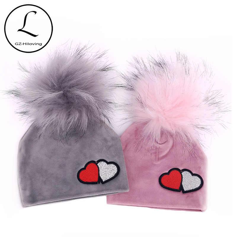 น่ารักทารกแรกเกิดเด็กทารกกำมะหยี่ Beanies หมวก 0-5 เดือน Childs เด็กฤดูใบไม้ร่วงฤดูหนาวหนา Faux Fur pompom หมวกและหมวก