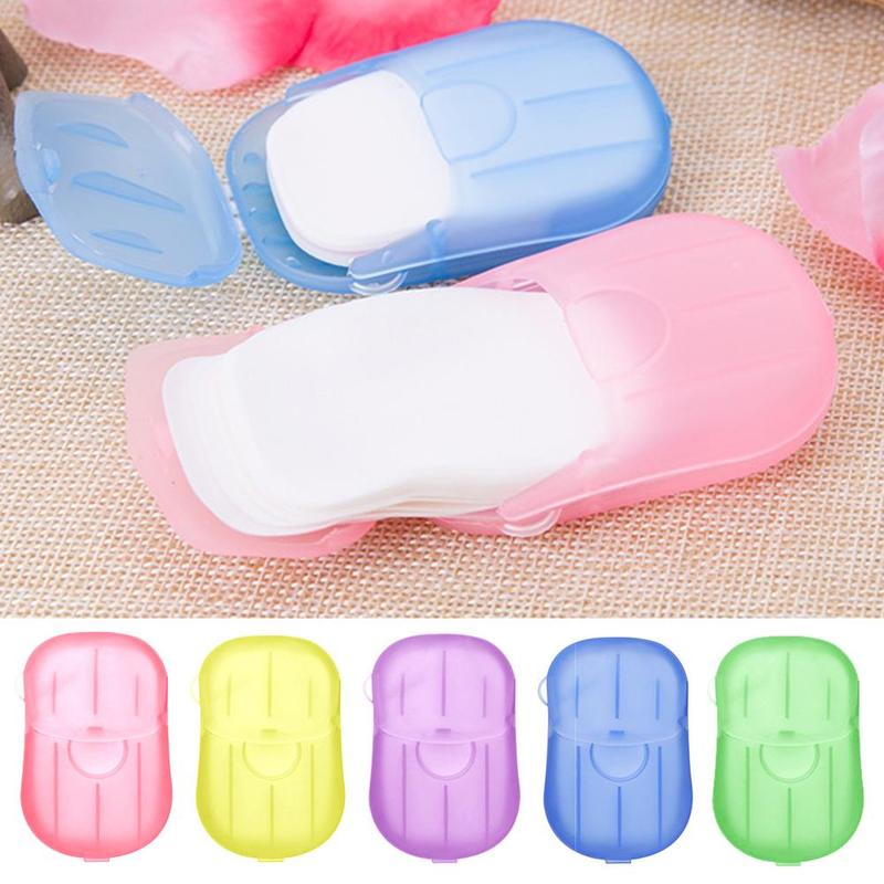 New 20pcs Travel Soap Paper With Case Washing Hand Bath Clean Scented Slice Sheets Disposable Boxe Soap Portable Mini Paper Soap