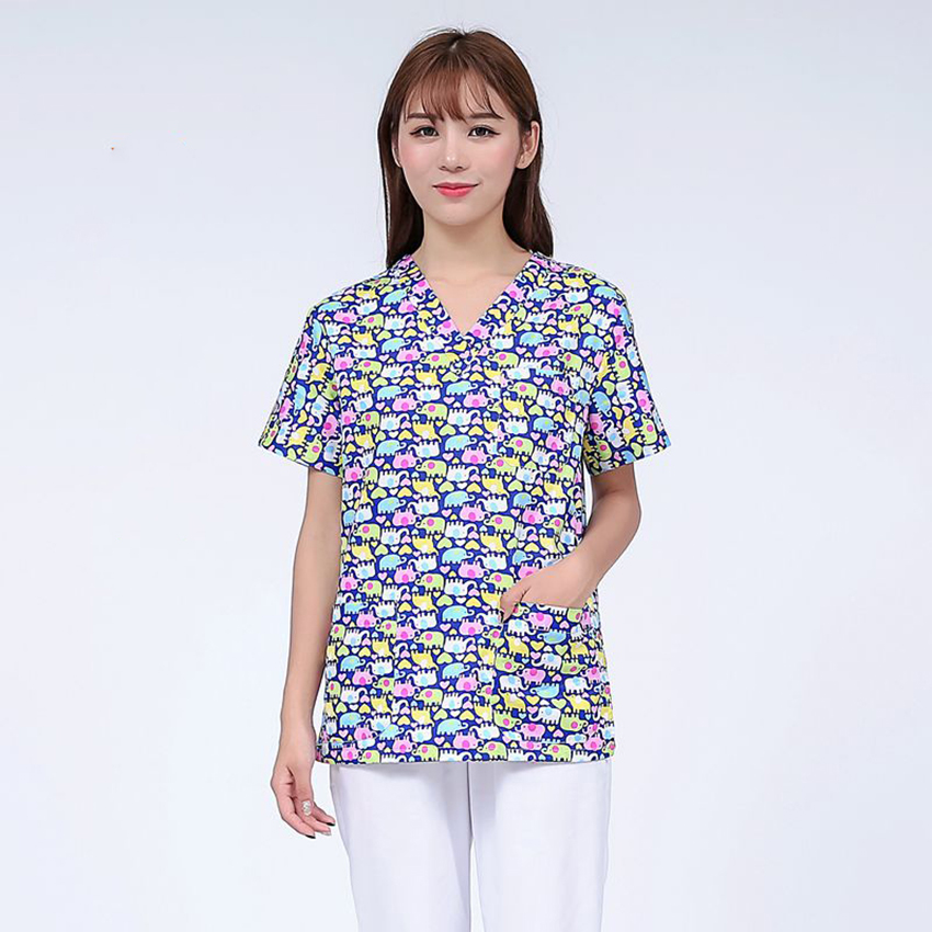 Medical Uniforms Cartoon Elephant Dog Cotton Clinical Uniforms Woman Tops Nurse Lab Coat Surgical Lovely Print Wholesale