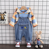 0-5 Yrs Cotton Baby Set Boy Girl Clothes Striped Spring Autumn Hoodie + Overalls Pants 2 Piece Sets Casual Outfits Special Offer