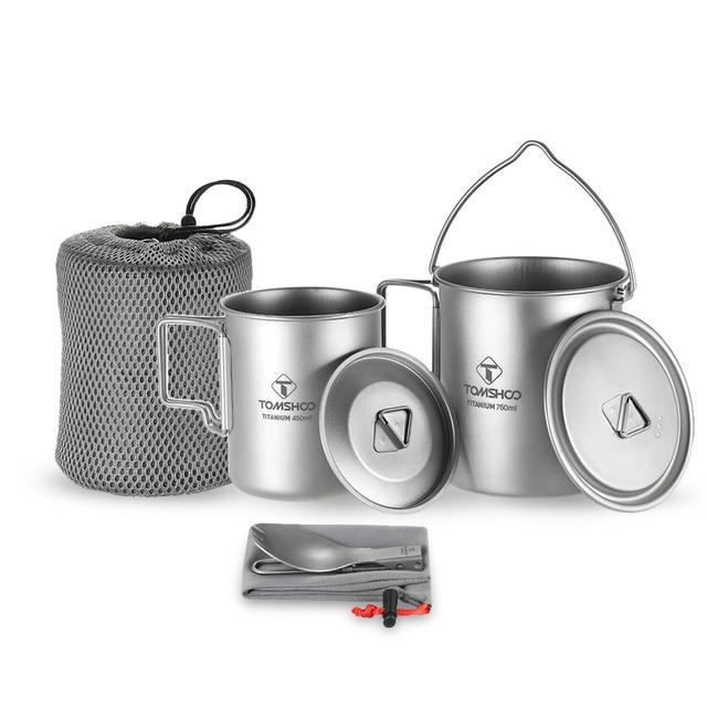 LIXADA Camping Titanium Water Mug Cookware Camping Outdoor Survival Coffee Pot Hiking Picnic Backpacking Camping Cookware Camp 1