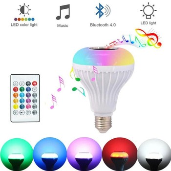 Bluetooth Speaker LED bulb Remote Controller Speaker Smart LED Music Playing Bulb Speakers E27 RGB Light Boombox Colorful LED image