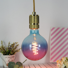 Edison Bulb Colorful G125 Gradient Bulb Purple Blue LED Flexible Filament Lamp Soft Filament E27 220V 4W Supports Dimming
