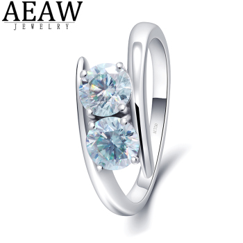 AEAW 10K white Gold 100% 1ctw Natural Moissanite Gemstone Rings for Women Handmade Rings Engagement Bride Gift Fine Jewelry image