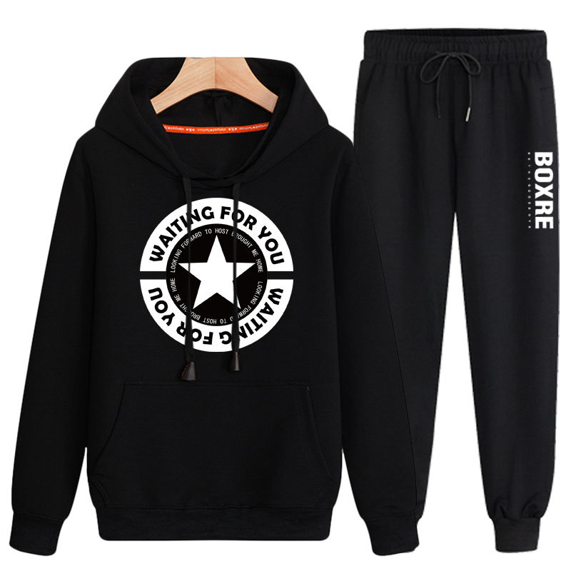 Men Hooded Sports Casual Sweatshirt Two-Piece Set Youth Students New Style Korean-style Trend Printed Slim Fit Coat