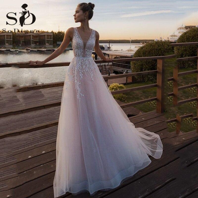 V Neck Lace Wedding Dress Vestido De Novia Princesa Illusion Back Applique A Line Bridal Dress Vestido De Casamento