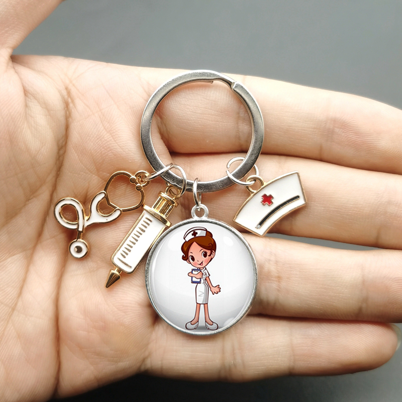 Paint Fashion Creative Nurse Medical Syringe Stethoscope Image Keychain Glass Suitable Nurses and Doctors Key Ring Pendant Gift