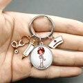 Paint Fashion Creative Nurse Medical Syringe Stethoscope Image Keychain Glass Suitable Nurses and Doctors Key Ring Pendant Gift