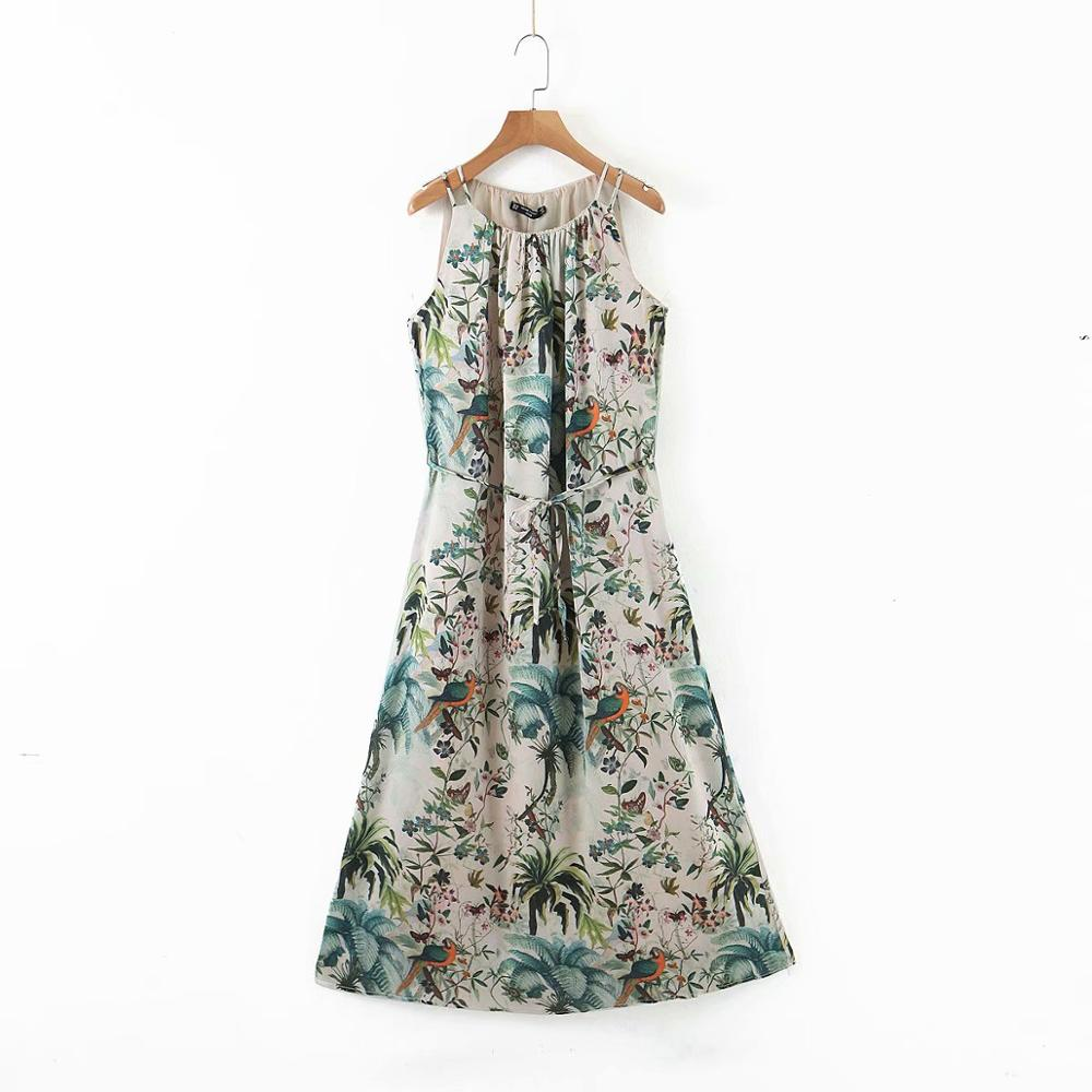2020 women elegant flower birds printing chiffon sling dress femme leisure o neck lace up midi vestidos casual dresses DS3508