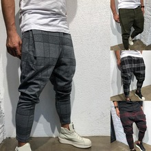 2020 High Wasit Spring Fashion Pocket Men's Slim Fit Plaid S