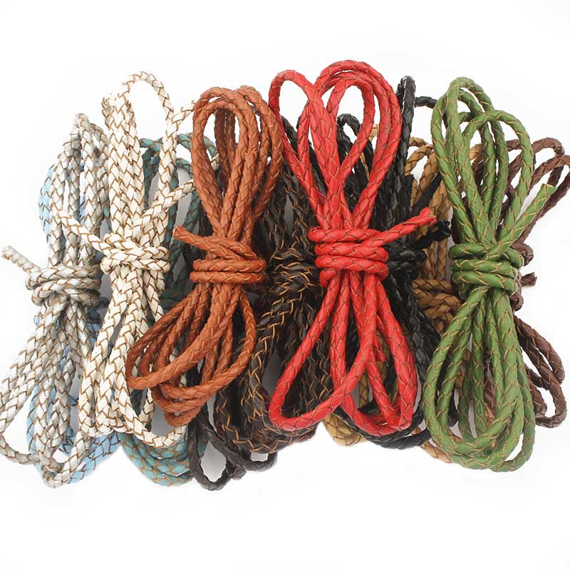 1 Meters 3mm Round Bolo Braided Cow Leather Cord DIY Craft Jewelry