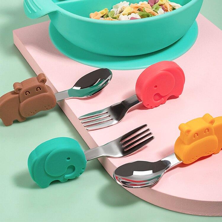 Bebê gadgets conjunto de utensílios de mesa crianças utensílio de aço inoxidável da criança louça talheres desenhos animados alimentos infantis alimentação colher garfo|Utensílios|   -