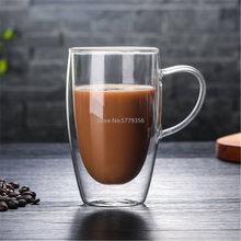Copos de chá de café de vidro de parede dupla resistente ao calor canecas de café de parede transparente caneca de limão copo de bebida de água