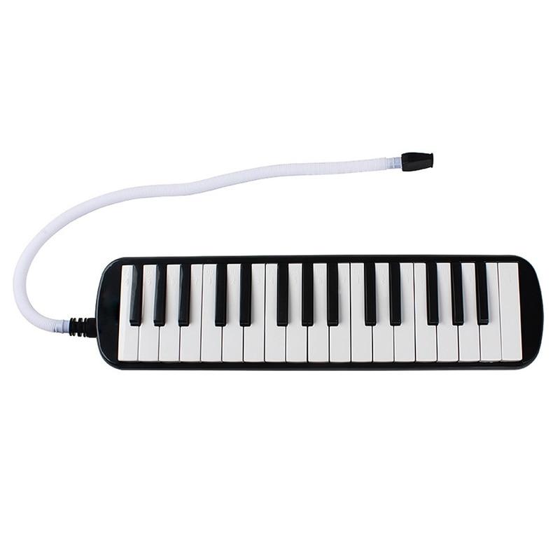 1 Set 32 Key Piano Style Melodica With Box Organ Accordion Mouthpiece Blow Keyboard (Black)