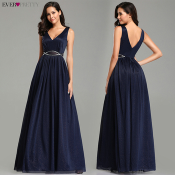 Ever Pretty Prom Dresses 2019 Elegant Navy Blue A Line O Neck Appliques Lace Formal Party Gowns Sexy Robe De Bal Gala Jurken 2