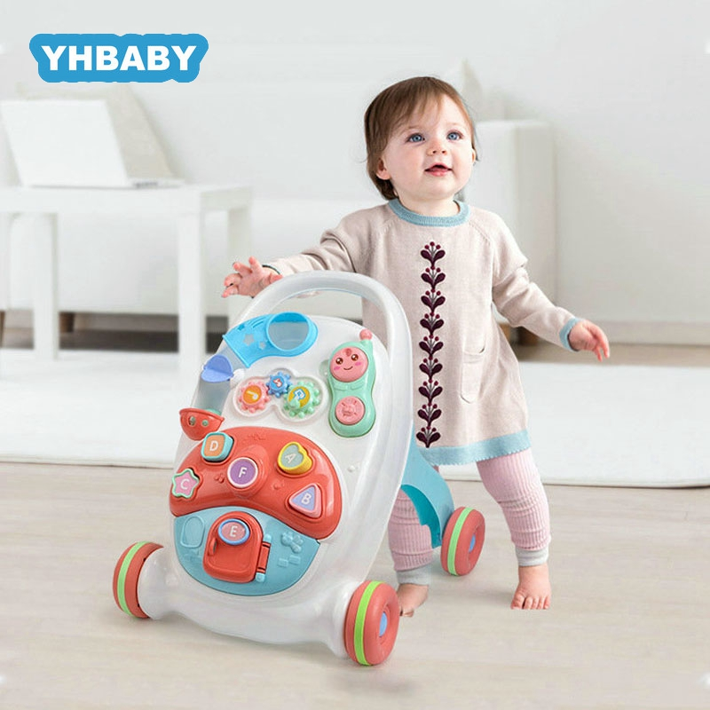 Baby Walker Stand-to-Sit Trolley High Quality Kids  Anti-rollover Walker Multifunctional Early Education Toy Push Walker