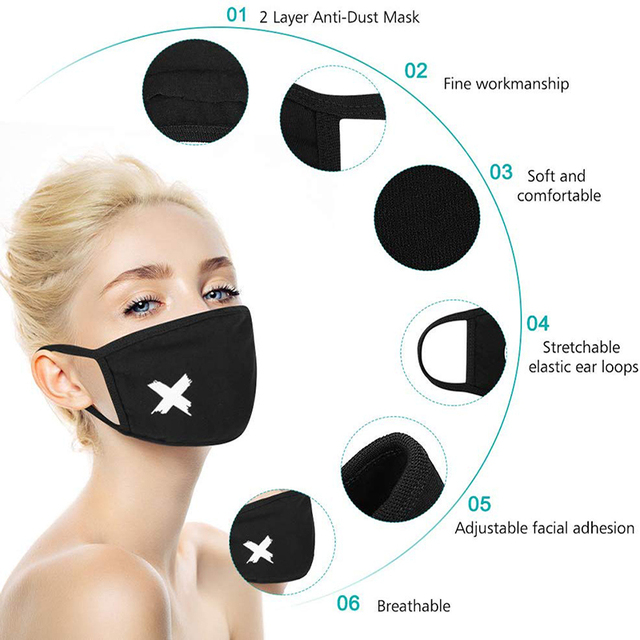 Cotton Pm2.5 Black Mouth Mask Anti Dust Mask Activated Carbon Filter Windproof Mouth Muffle Bacteria Proof Flu Masks 5