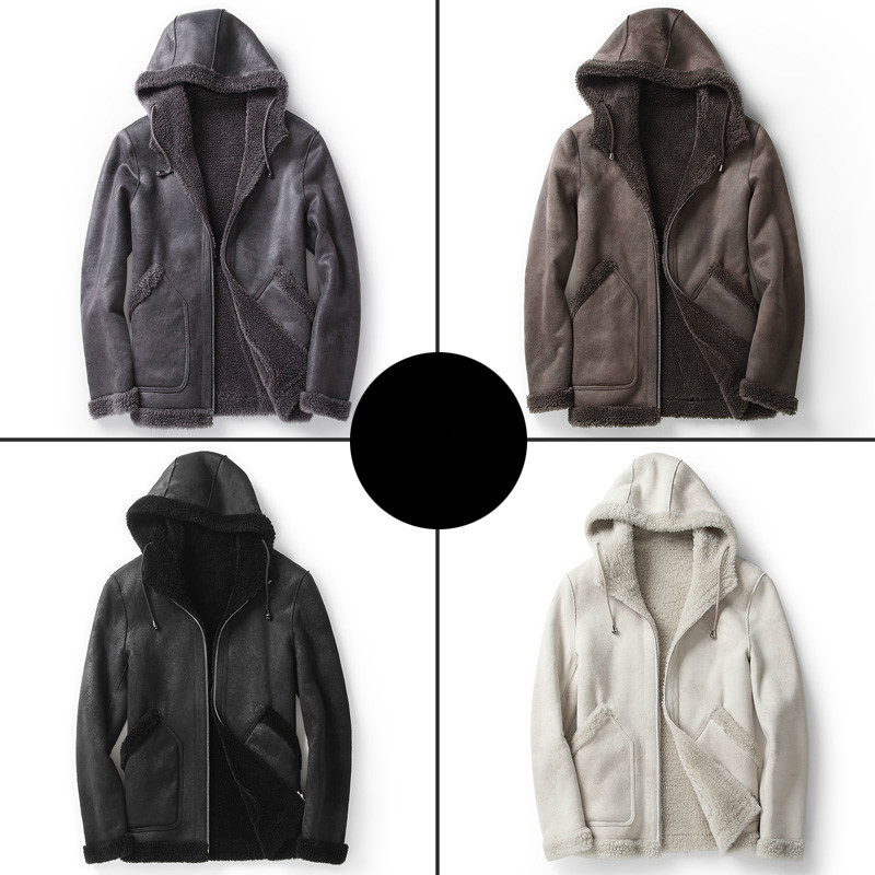 Short Real Fur Coat Men Hooded Autumn Winter Leather Jacket Man Sheep Shearing Wool Coats Two Side Wear MC18C170 KJ1200