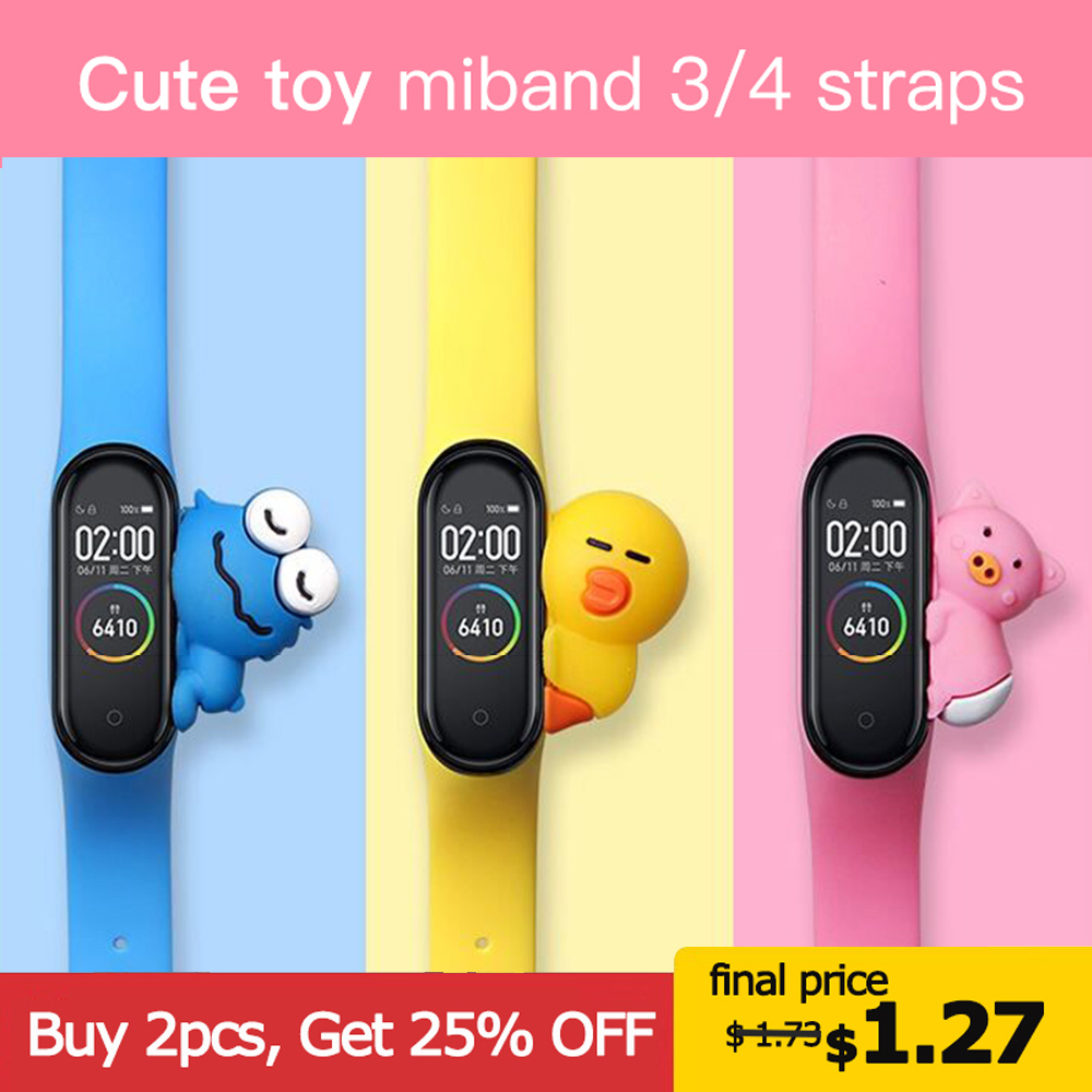 Cute Miband 4 Strap Replacement Silicone Mi 4 Band Straps Toy My Band 3 Strap For Xiaomi Miband 3/4 Band Accessories