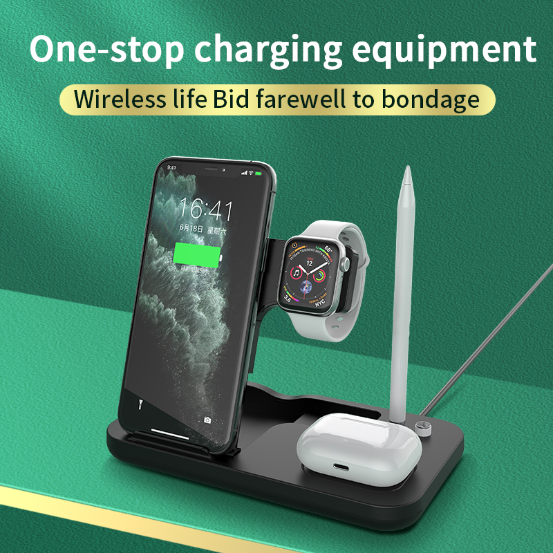 AIXXCO 15W Qi Fast Wireless Charger Stand For iPhone 11 Apple Watch 4 in 1 Foldable Charging Dock Station for Airpods Pro iWatch 5