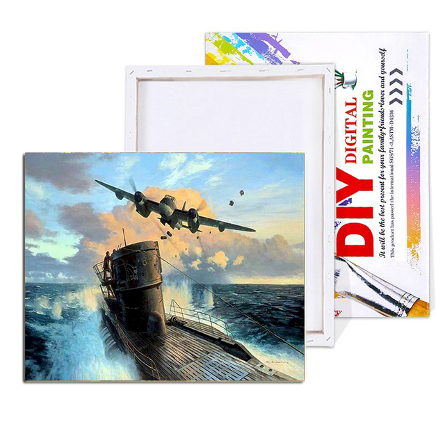Paint By Numbers Adult Kit War WW2 RAF Mosquito Fighter Bomber Submarine