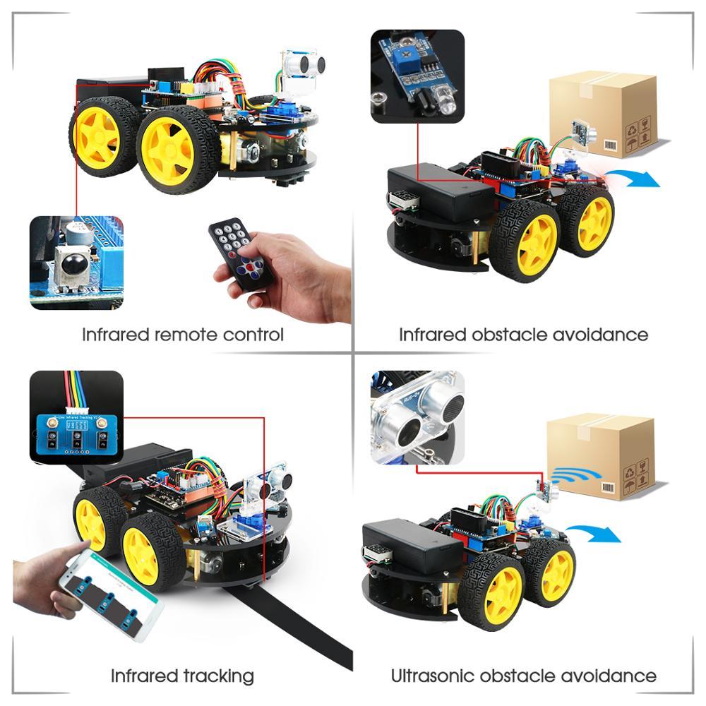 Coches Robot Keywish 4WD para Arduino Starter Kit coche inteligente APP RC robótica Kit de aprendizaje educativo STEM Toy chico lection + Video + código - 4