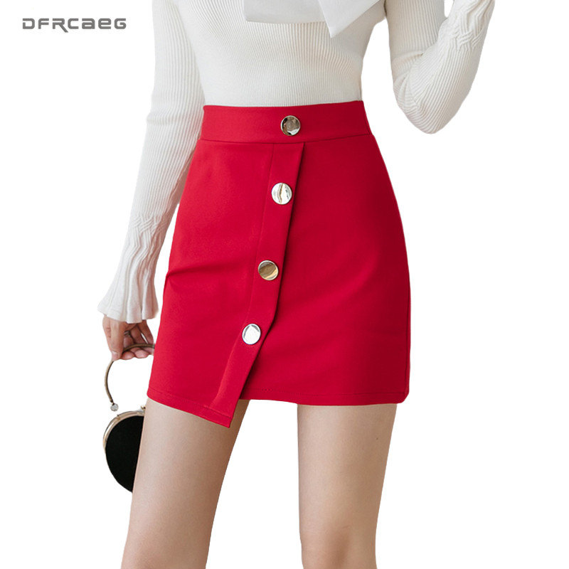 Irregular Women Mini Skirts With Button Summer 2020 High Waist Ladies Work Formal Stretch Short Skirt Femme Saia