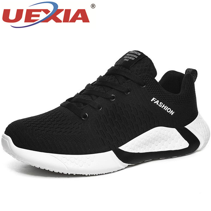 UEXIA Fashion Spring Autumn Men Casual Shoes Lace Up Mesh Non-slip Lightweight Flats Breathable Walking Sport Sneakers Footwear
