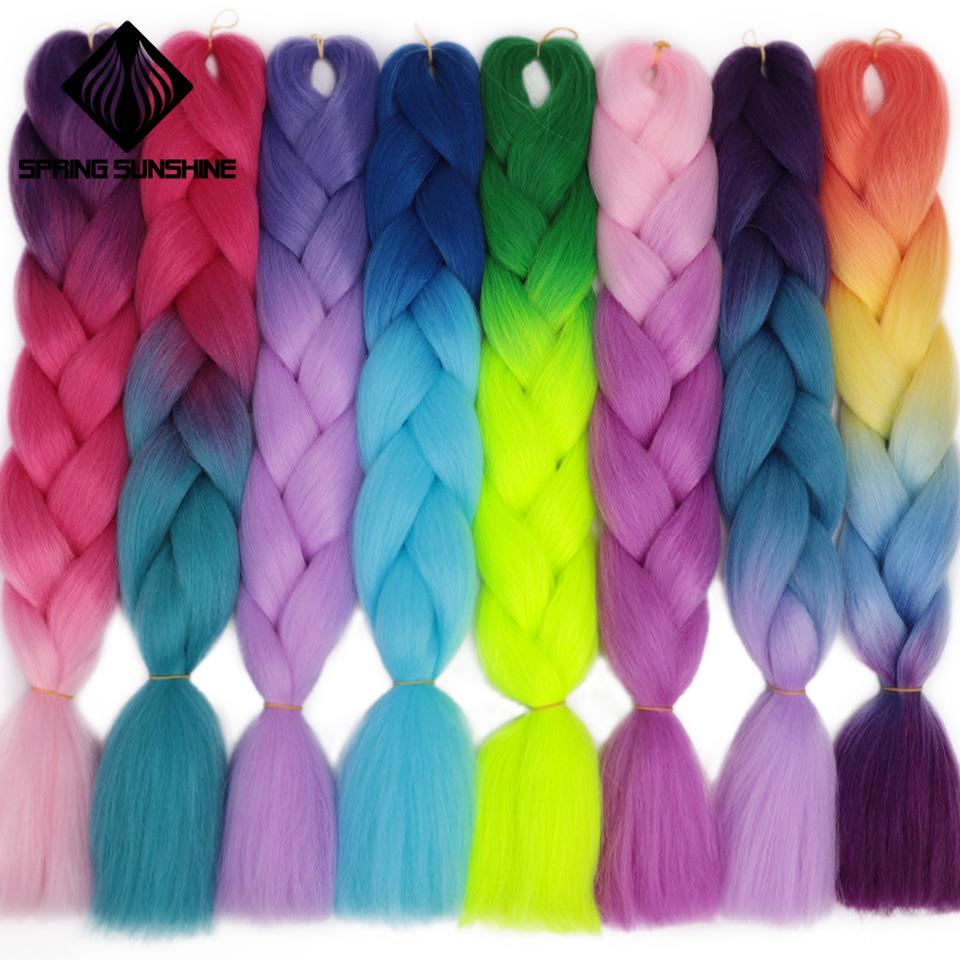 Spring Sunshine 5PCS 24inch Jumbo Braid Hair Yaki Glowing Hair Ombre Crochet Braiding Synthetic Hair Extension For Braids 1-5PCS