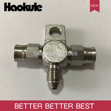 Haokule Stainless Steel 3Way 3AN/AN3 Tee Block With mount Tab/AN 3 3/8 24UNF Thread PTFE Brake TEFLON Hose End Fitting