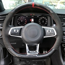 DIY Hand-stitched Carbon Fiber Black Suede Car Steering Wheel Cover For Volkswagen Golf 7 GTI Golf R MK7 Polo Scirocco 2015 2016