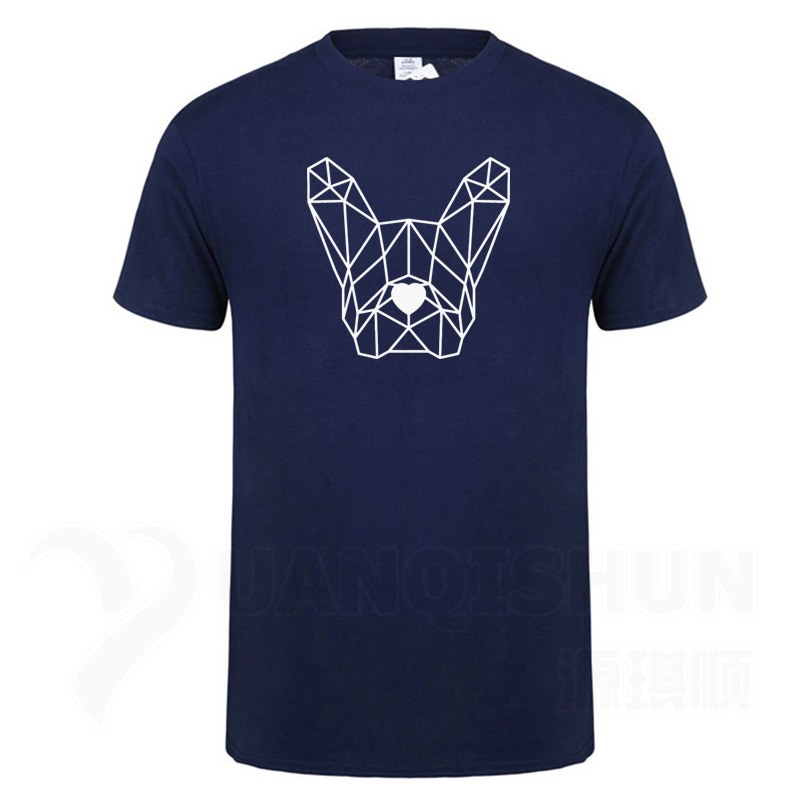 Geometric Polygon <font><b>Dog</b></font> Head T-shirt French Bulldog Pet T Shirts Simple line <font><b>art</b></font> <font><b>Tshirt</b></font> Minimalism Top Quality Mens Short Tees image