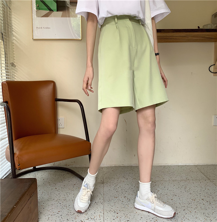 H5aa061a425234db5a7d800f71f46c074c - Summer High Waist Wide Leg Loose Solid Shorts