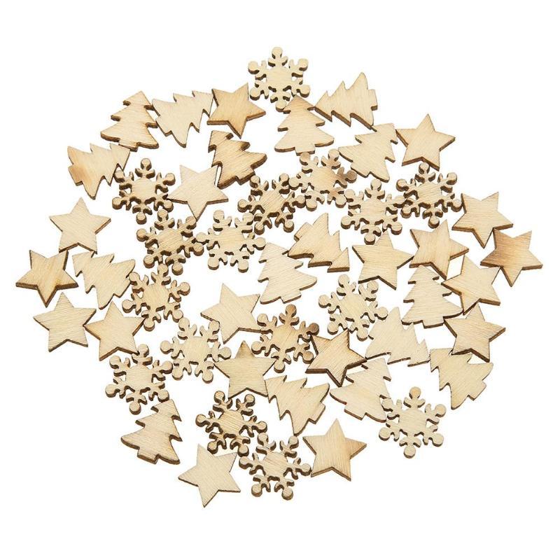 50pcs Wood Tree Snowflakes Star Table Decor DIY Christmas Tree Hang Pendant