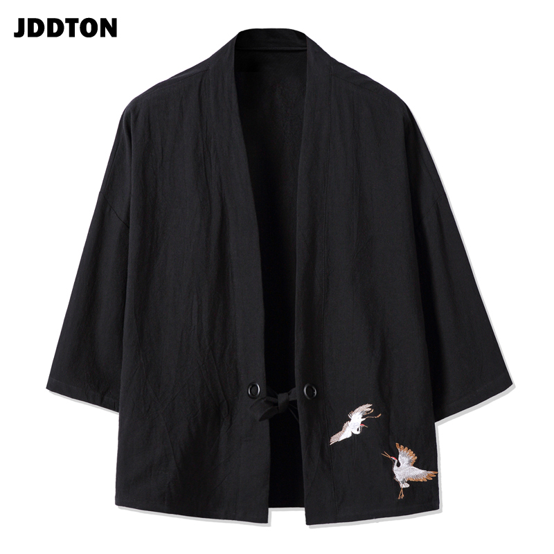 JDDTON Spring Men's Cotton Linen Kimono Fashion Loose Long Cardigan Outerwear Vintage Coats Male Jackets Casual Overcoats JE077