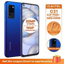Oukitel c21 6.4 fffhd + 20mp al selfie 4gb 64gb telefone celular octa núcleo 4g smartphone 4000mah
