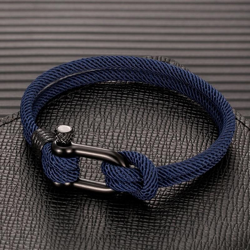 MKENDN Men U shape Survival Bracelet Outdoor Camping Rescue Emergency Rope Bracelet For Women Black Stainless Steel Sport Buckle