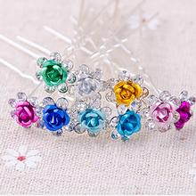Xugar Hair Accessories 20Pcs 7 Rhinestone Rose Hairpins Bride Wedding Clips Fashion U-Shaped Barrettes Ornament