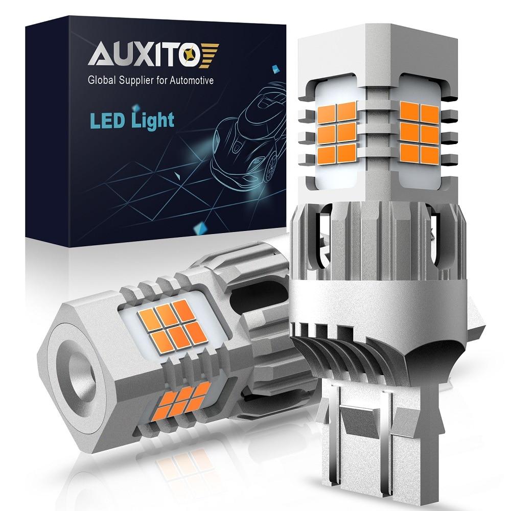 AUXITO 2pcs No Hyper Flash T20 W21W WY21W 7440 7440NA 7443 W21 5W LED Turn Signal Light Bulbs Canbus Error Free Car Lamp Amber