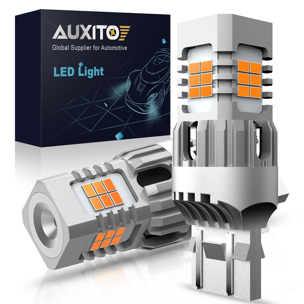 AUXITO 2x 1500LM T20 W21W WY21W 7440 7440NA 25SMD LED Turn Signal Light Bulbs Canbus Error Free No Hyper Flash Amber Yellow Lamp